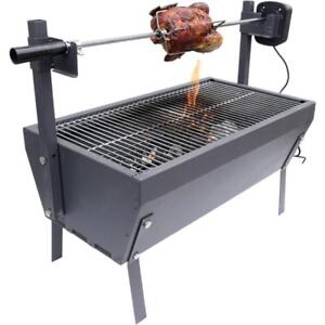 "Small Rotisserie Chicken Roaster Grill 28"" Spit Rod Stainless Steel Charcoal BBQ - Brand new - FREE SHIPPING"