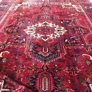Heriz Antique Persian Rug, Handmade Carpet, Wool, Red, Beige, Black, Orange & Green, Size: 12.9 X 9.10 ft