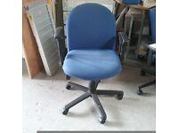 Konig+Neurath Targa blue fabric operator chair with curved armrests