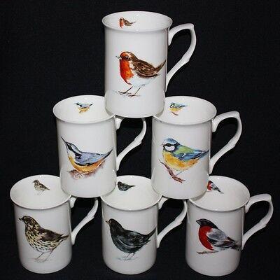 6 INDIVIDUAL BRITISH WILDLIFE BIRDS ON  FINE BONE CHINA  MUGS  CUP GIFT SET NEW