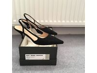 Hobbs size 3, black suede sling back shoes
