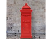 Pillar Letterbox Aluminium Vintage Style Rustproof Red-43891