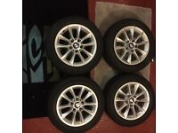 Genuine BMW alloys with winter run flat tyres for 1 series, great condition