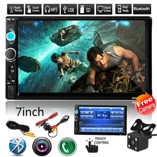 $53.57 - 7'' HD 2DIN Bluetooth Touch Car Stereo Radio MP5/MP3 Player USB/AUX/TF/FM+Camera