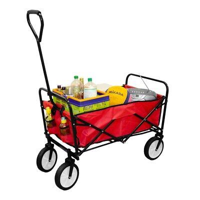 Faltbarer Handwagen Strandwagen Bollerwagen Faltwagen | max. 100Kg - Rot