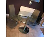 Glass dinning table with 2 chairs