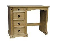 Corona Dressing Table 4 Drawer Solid Wood, Antique Pine