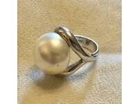 Agatha Paris 925 Sterling Silver Classic Solitaire Large Pearl Dress Ring Size L