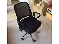 Rizzo Swivel Office Desk Chair in Black and Chrome, Adjustable Reclining with Arms, from MADE