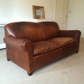 VINTAGE STYLE BROWN LEATHER DOUBLE SOFA BED - £500 o.n.o.