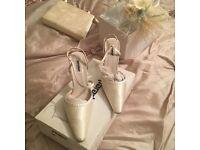 Ivory satin shoes bag & hats