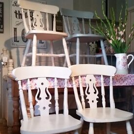 Set of 4 Vintage Fiddle Back Chairs - Pine - Shabby Chic