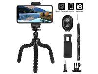 Tripod Compatible iPhone,Mini Flexible Travel Octopus Tripod,Bluetooth Remote,Phone Holder