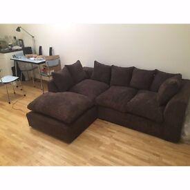 Brown Mink Fabric Corner Sofa