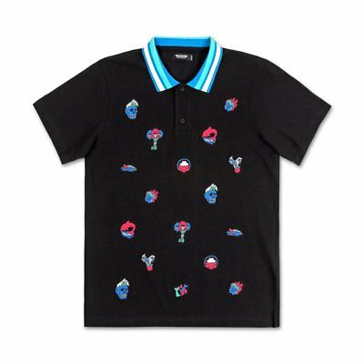 Pink Dolphin Icons Polo T-Shirt Black Over Embroidered Jacquard Lightweight NWT