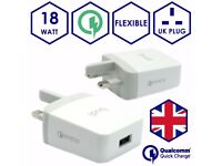 Budi® Fast Quick Charge 3.0 USB 18W Wall UK Plug Charger for Mobile Apple Samsung