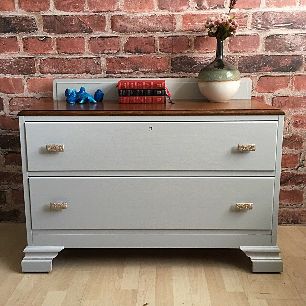 Unique Shabby Chic Chest Of Drawers with gold details