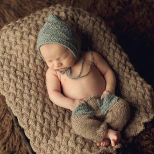 Cute Baby Newborn Girl Boy Knitted Costume Elf Hat Pants Photography Props Cap Baby