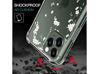 UCMDA Compatible with iPhone 11 Pro Case - Flexible Slim Clear Silicone Cover Case (White Sakura)