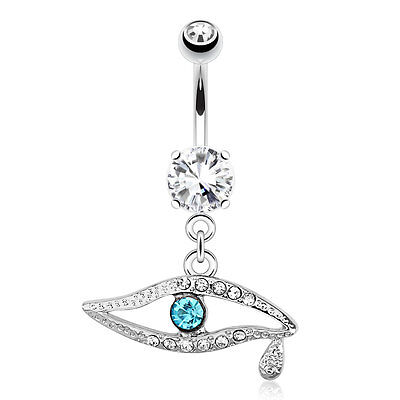 Emerald CZ Eye Teardrop Surgical Steel Navel Belly Button Ring - Emerald Belly Button Ring