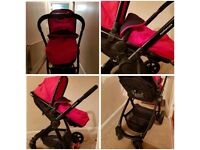Mother Care's red journey Pushchair, carry cot and Car seat! Excellent condition