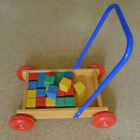 Traditional wooden baby walker