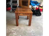 "Wooden coffee table 1'8"" x 1'8"" with small drawer"