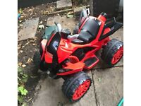 Red Childrens Electric Re-Chargeable Quad Bike