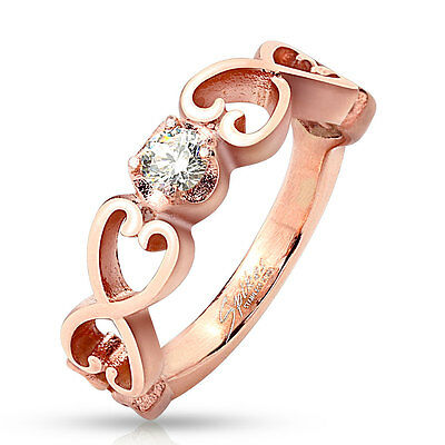 Rose Gold IP Stainless Steel Vintage Hearts Cubic Zirconia Ring