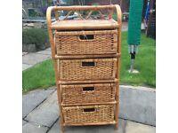 Wicker and bamboo 4 draw storage, £10