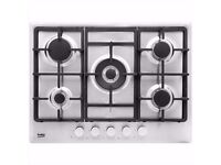 New un-used Beko 5 Burner Gas Hob - Stainless ( HIMW75225SX )