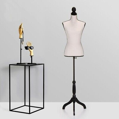 New Adjustable Tripod Female Mannequin Torso Stand For Clothing Display Beige