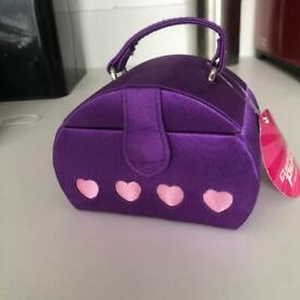 Purple handbag shaped mini jewellery box