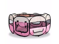 NEW LARGE FABRIC PLAY PEN ANIMAL CAGE PET ....DOG RABBIT PLAYPEN RUN FOLDING FENCE CRATE.....