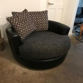 Three seater and spinning circle chair sofa