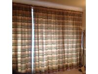 2 pairs fully lined curtains and rail
