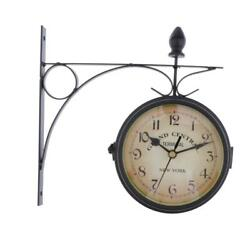 Garden Bracket Double Sided Outdoor Station Clock with Metal Frame-Black