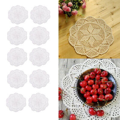 Prettyia 10x Crochet Lace Place Mat Cup Mat Table Doily Cover For Party