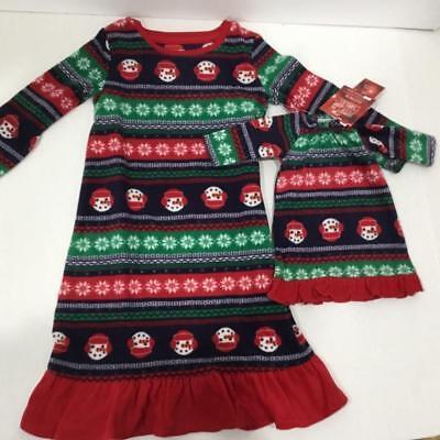 Girls Snowman Christmas PJ's Jammies Gown & Matching Doll Gown 2T](Matching Christmas Jammies)