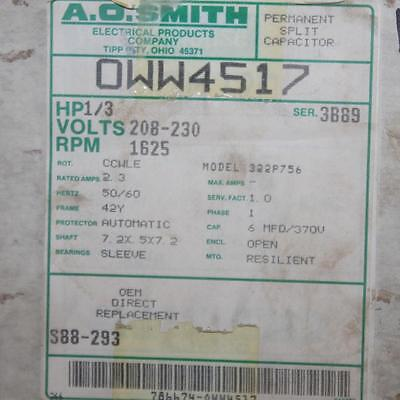 AO Smith Motor OWW4517  1/3 HP 1625 RPM 208-230 Volt Dual Shaft Century TN-191 1625 Rpm Double Shaft