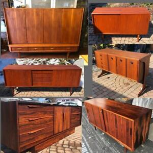REFINISHED Mid Century Modern Teak, Walnut, Rosewood Sideboards TV Media Consoles Buffets Displays Shelving