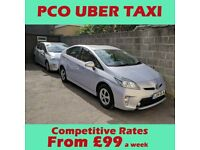 PCO Car Hire, Uber Ready Mini Cab Taxi Rent Toyota Prius Hybrid for Vehicle Rental