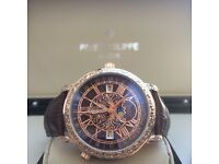 Patek Philippe Stars and Moon with Rose Gold Casing Brown Face and Brown leather strap comes boxed