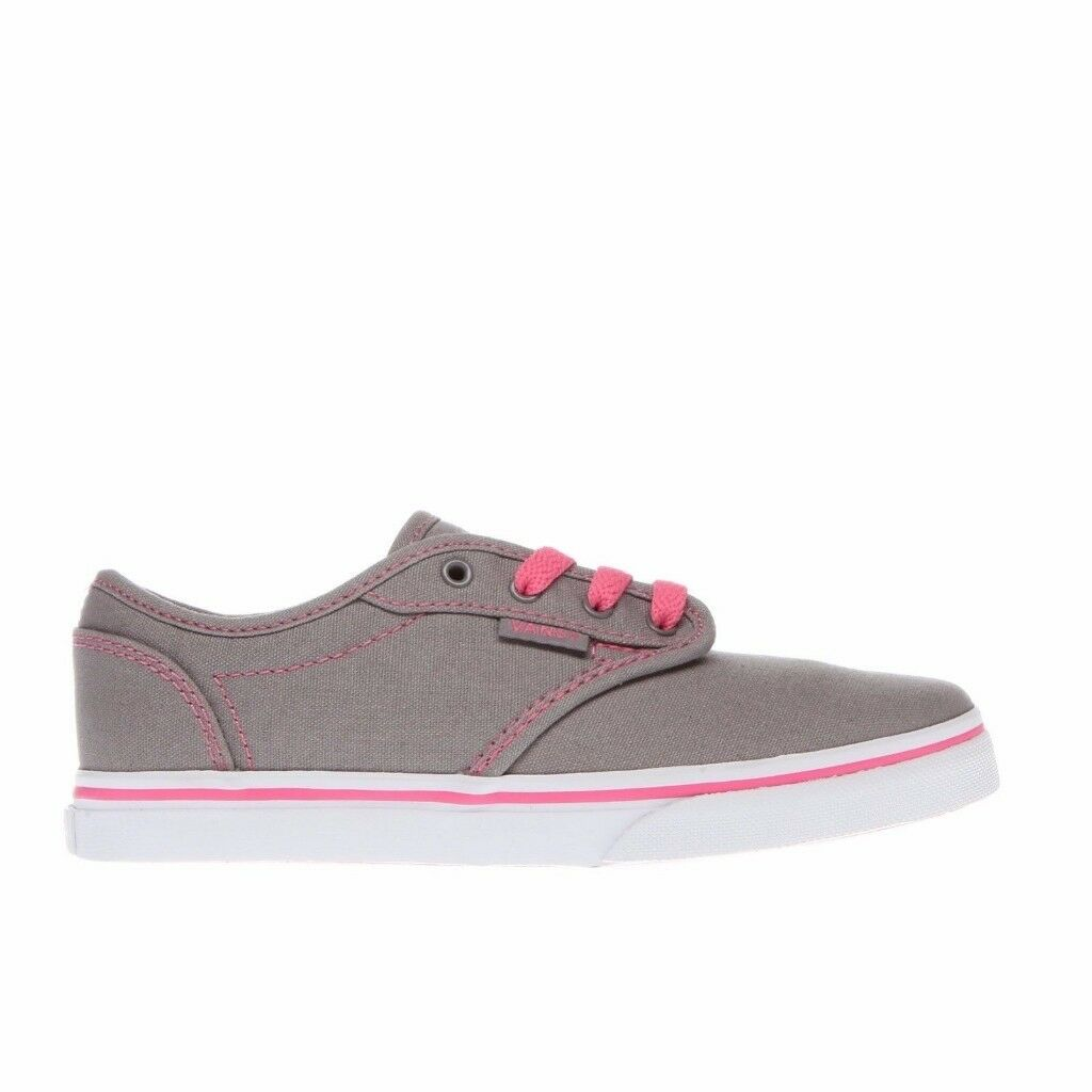 d6ae3c289e Vans Atwood Low Slip School Shoes Lace Elastic Kids Footwear Canvas Skate  Girls UK 13.5