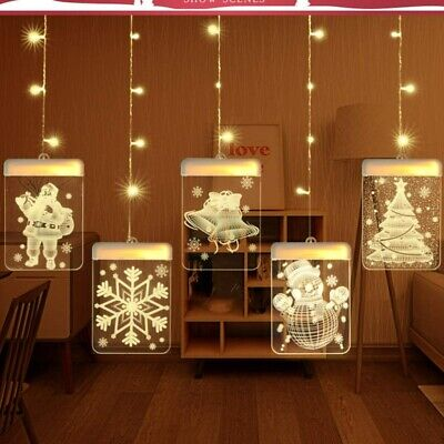 Christmas LED Certain Light Window Hanging Decor Xmas Tree Elk String Lights Moose Christmas Lights