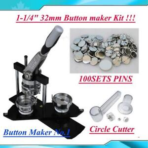 "DIY 1-1/4""  Button maker kit!! Badge Maker+ Cutter+100 Pins 015331"