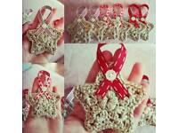 Handmade crochet star decorations