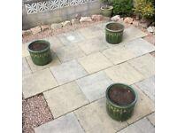 Three patio pots,as new.