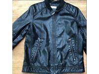 Boys black fake leather biker jacket age 10-11yr