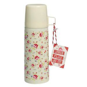 dotcomgiftshop-350ML-STAINLESS-STEEL-LUNCH-FLASK-AND-CUP-LA-PETITE-ROSE-DESIGN